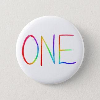 ONE Inspirational Rainbow Word Pin Buttons
