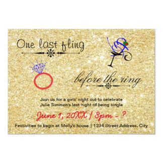 One Last Fling / Gold - Bachelorette Invitation