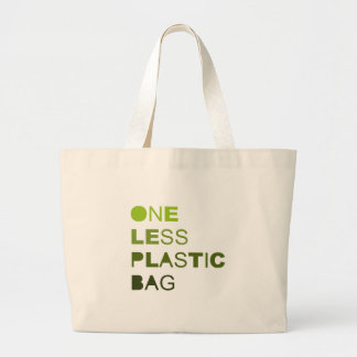 One less plastic solid large tote bag