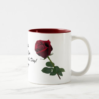 One Long Stem Deep Red Rose Mug