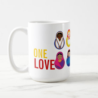 One Love Matroyshka International Nesting Dolls Classic White Coffee Mug