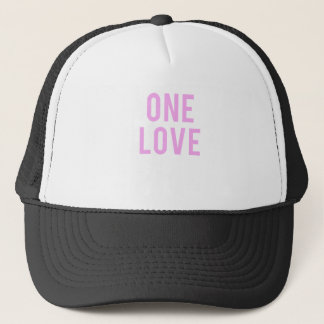 One Love Pink Print Trucker Hat