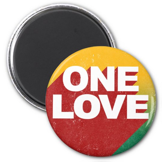 One Love Poster 2 Inch Round Magnet