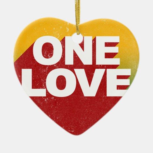 One Love Poster Ceramic Heart Ornament