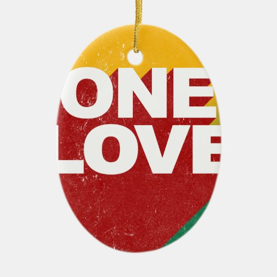 One Love Poster Ceramic Oval Ornament