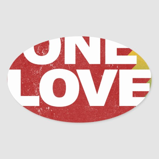 One Love Poster Oval Sticker