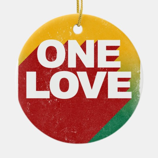 One Love Poster Round Ceramic Ornament