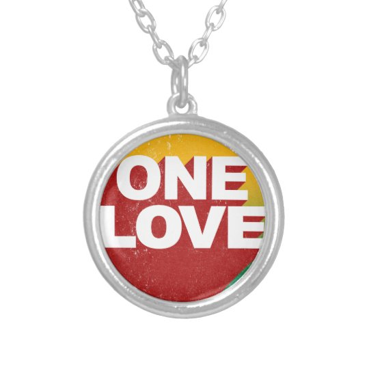 One Love Poster Silver Plated Necklace