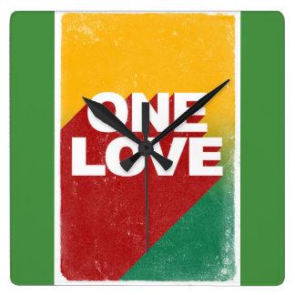 One love rasta square wall clock