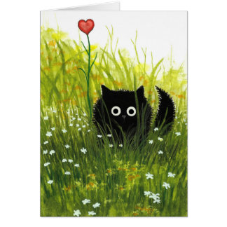 One Love Valentine Black Cat Card by Bihrle