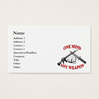 One Mind Any Weapon Business Cards