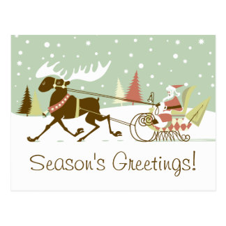 One Moose Open Sleigh Retro Santa Clause Christmas Postcard