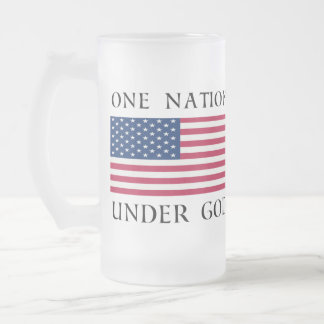 One Nation Frosted Glass Beer Mug