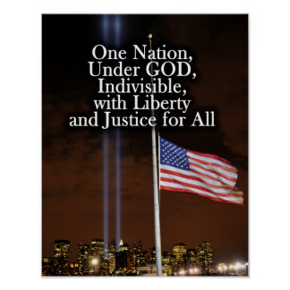 One Nation Under God Patriot Day 9/11 Patriotic Poster