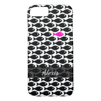One Neon Pink Fish in a Sea of Black on White Case-Mate iPhone Case