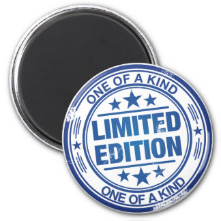 One of a kind -blue rubber stamp effect- 2 inch round magnet