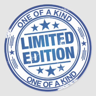 One of a kind -blue rubber stamp effect- classic round sticker