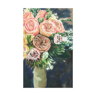 One of a Kind Flower Bouquet Monotype Print