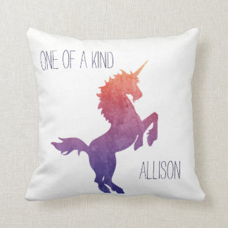 One of a Kind Personalized Watercolor Unicorn Throw Pillow
