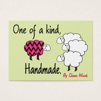 One Of A Kind Pink and Black Sheep Hang Tag Business Card