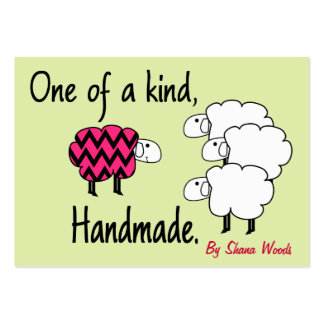 One Of A Kind Pink and Black Sheep Hang Tag Large Business Card