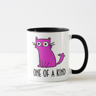 One of a Kind Pink and Green Cat Mug