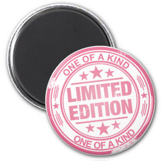 One of a kind -pink rubber stamp effect- 2 inch round magnet