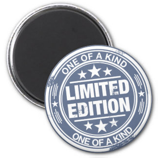 One of a kind -white rubber stamp effect- 2 inch round magnet