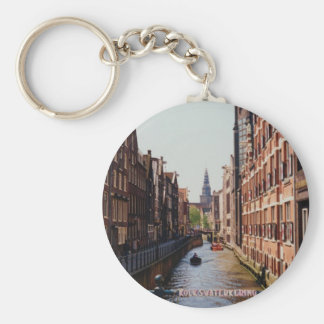 One of the many canals in Amsterdam, Netherlands Keychain