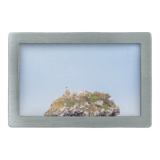 One outstanding rock rising from sea level belt buckle