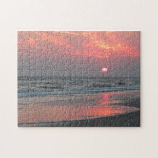 One Perfect Sunset - Oak Island, North Carolina Jigsaw Puzzle