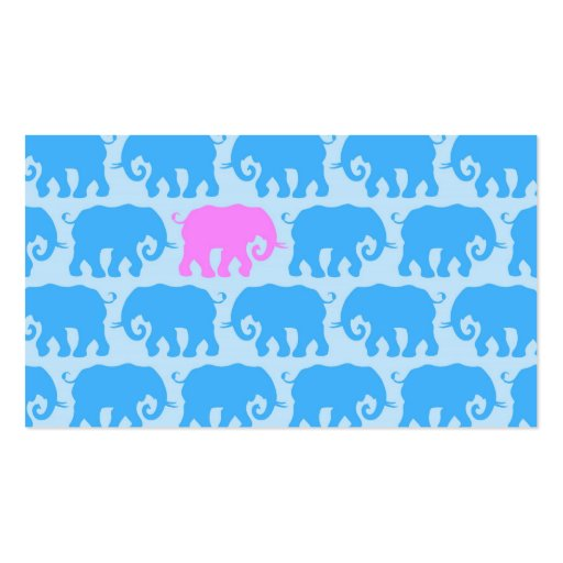 One Pink Elephant in a Herd of Blue Business Card Template
