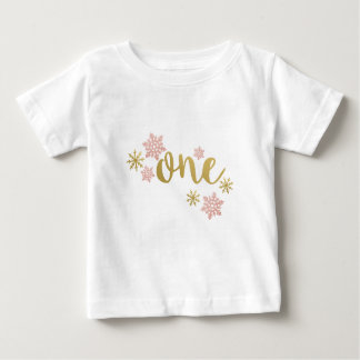 ONE PINK GOLD SNOWFLAKE BIRTHDAY FIRST BABY T-Shirt