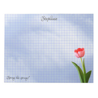 One Pink Tulip Floral Photography Geometric Grid Notepad
