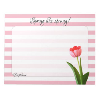 One Pink Tulip Floral Photography Stripes Notepad