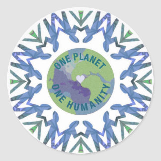 One Planet One Humanity Classic Round Sticker