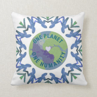 One planet one humanity throw pillow