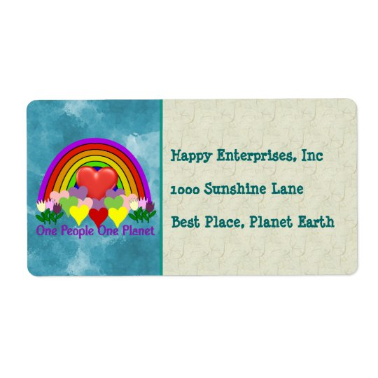 One Planet One People Shipping Label