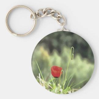 One Poppy Basic Round Button Keychain
