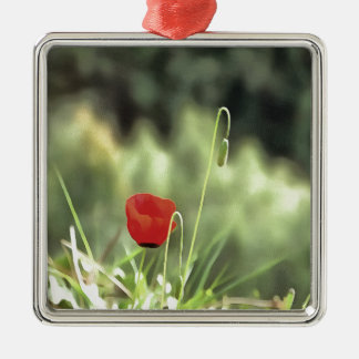 One Poppy Metal Ornament