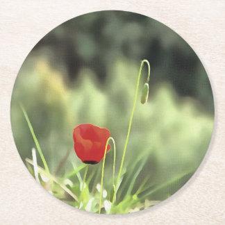 One Poppy Round Paper Coaster