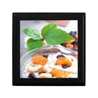 One portion of oatmeal with fruit and berries gift box