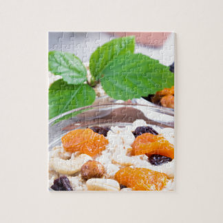 One portion of oatmeal with fruit and berries jigsaw puzzle
