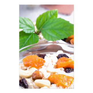One portion of oatmeal with fruit and berries stationery