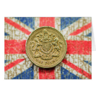 One Pound on the British Flag Canvas Card