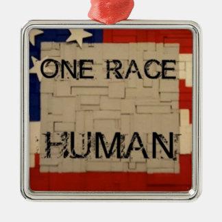One Race Human Silver-Colored Square Ornament