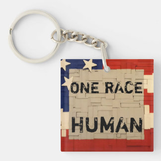 One RACE HUMAN Single-Sided Square Acrylic Keychain