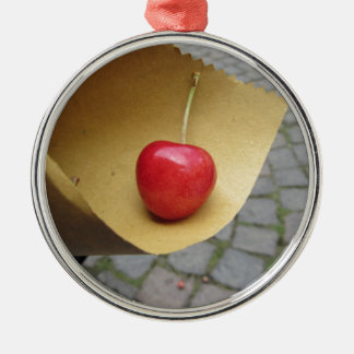 One red cherry on straw food paper metal ornament