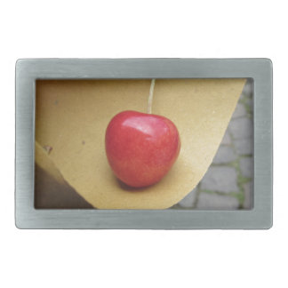 One red cherry on straw food paper rectangular belt buckle