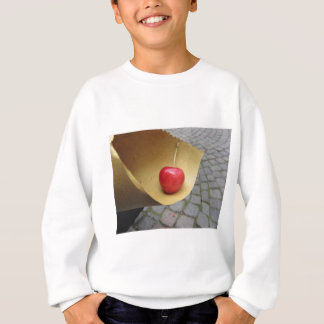 One red cherry on straw food paper sweatshirt